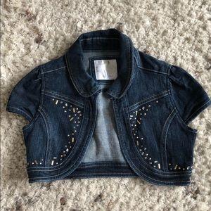 Justice Girls cropped jean vest size 8